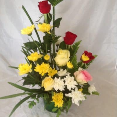 yellow and red roses floral gift