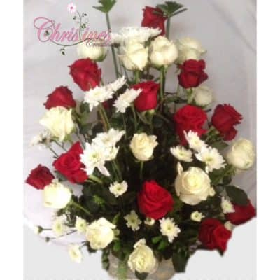 Red and white rose floral arrangement